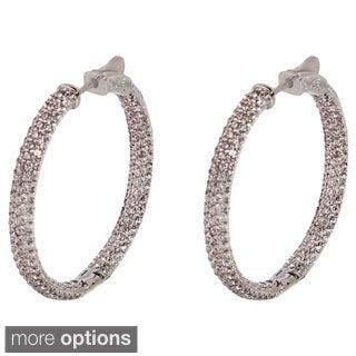 NEXTE Jewelry Brass Pave-set Cubic Zirconia Inside-out Hoop Earrings