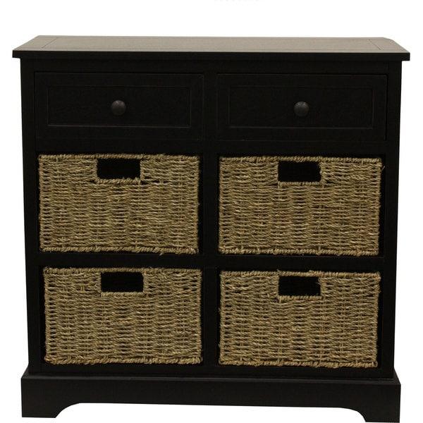 Wicker Dresser Black Bedroom Storage Chest 6 Basket