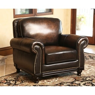 ABBYSON LIVING Palermo Hand Rubbed Brown Leather Armchair