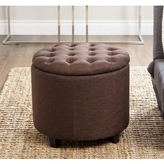ABBYSON LIVING Avery Brown Tufted Lid Top Storage Ottoman