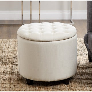 ABBYSON LIVING Avery Ivory Tufted Lid Top Storage Ottoman