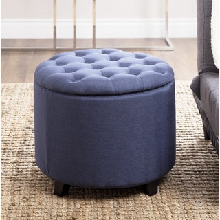 ABBYSON LIVING Avery Blue Tufted Lid Top Storage Ottoman