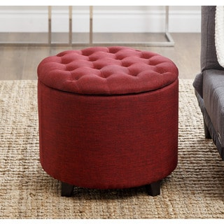 Abbyson Living Avery Red Tufted Lid Storage Ottoman