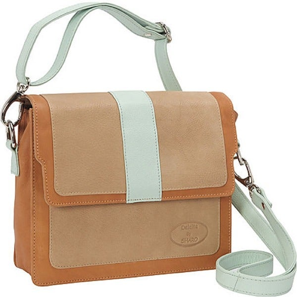 SHARO Mint/ Beige Genuine Leather Cross-body Bag
