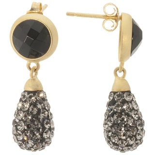 14k Gold over Sterling Silver Black Crystal and Black Onyx Teardrop Earrings