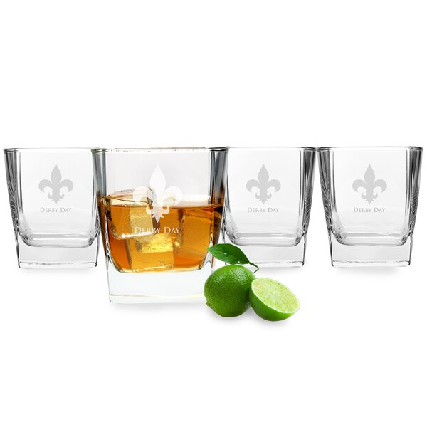 Kentucky Derby Rocks Glasses (Set of 4)