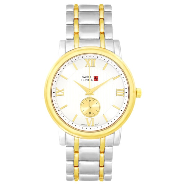 Swiss Hunter Two Tone Gold Metal Fashion Watch