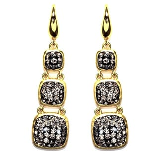 14k Gold over Sterling Silver Black Crystal Triple Square Drop Earrings