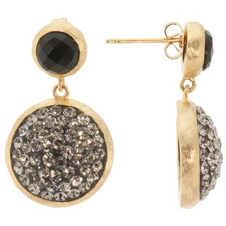 14k Gold over Sterling Silver Black Crystal and Black Onyx Circle Earrings