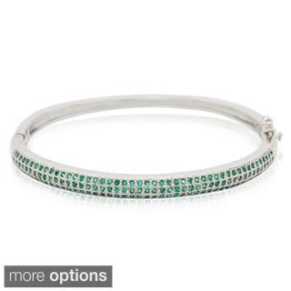 Sterling Silver Triple Row Round-cut Created Emerald Bangle Bracelet