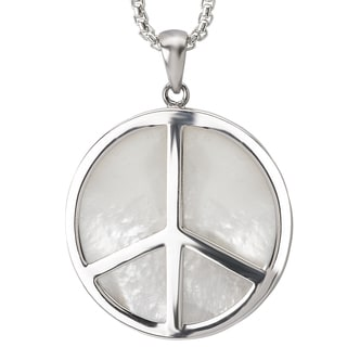 Avanti Sterling Silver Mother of Pearl Peace Sign Necklace