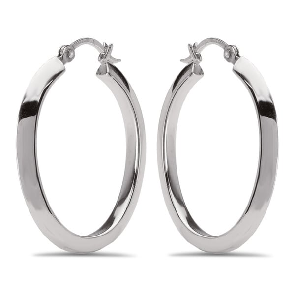 Avanti Sterling Silver Oval Hoop Earrings