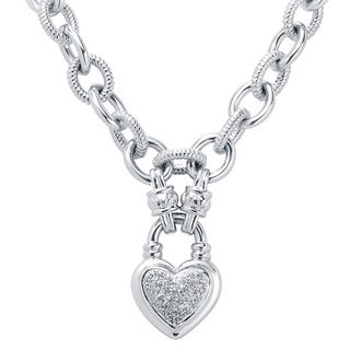 Sterling Silver 1/4ct TDW Diamond Heart Charm Bracelet (H, I2)