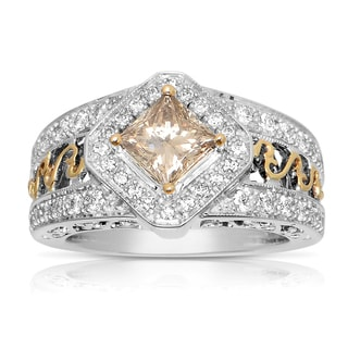 Eloquence 14k Two-tone Gold 2ct TDW Champagne and White Diamond Engagement Ring (H-I, I1-I2)