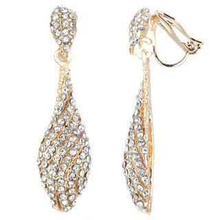 Goldtone White Rhinestone Dangle Clip-on Earrings
