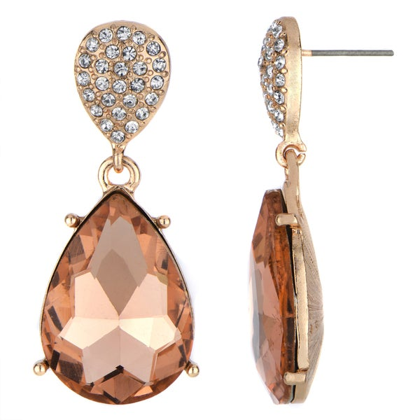 Rose Goldtone Peach Stone Pear Drop Earrings