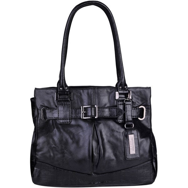 David Jones Black Leatherette Buckled Tote