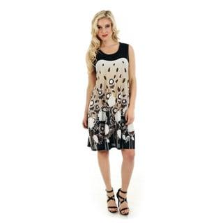 Women's Black and White Floral Print Sundress
