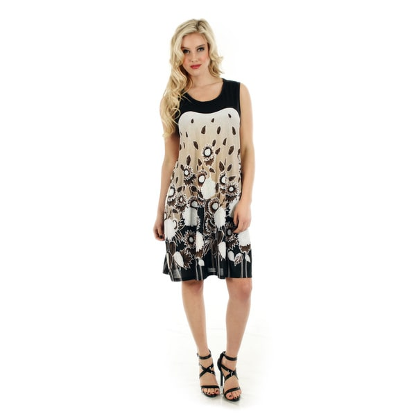 Firmiana Women's Black and White Floral Print Sundress