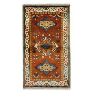 Herat Oriental Indo Hand-knotted Tribal Kazak Pink/ Gold Wool Rug (3'1 x 5'2)
