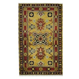 Herat Oriental Indo Hand-knotted Tribal Kazak Gold/ Red Wool Rug (3'3 x 5'2)
