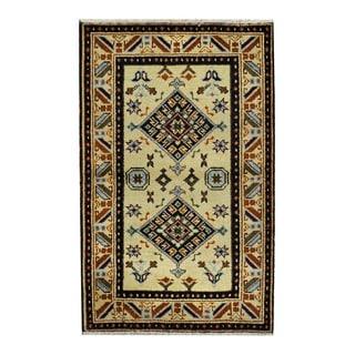 Herat Oriental Indo Hand-knotted Tribal Kazak Beige/ Tan Wool Rug (3'1 x 4'10)