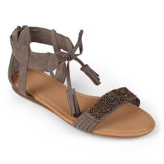 Journee Collection Women's 'Gardenia' Roman Beaded Sandals