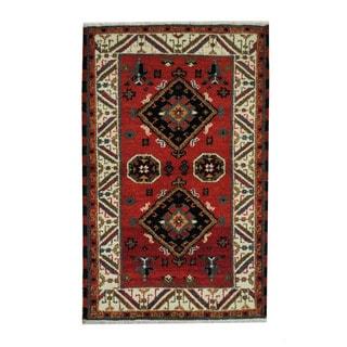 Herat Oriental Indo Hand-knotted Tribal Kazak Red/ Ivory Wool Rug (3'2 x 5')
