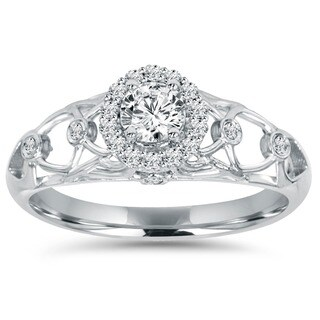 Bliss 14k White Gold 1/5ct TDW Diamond Vintage Engagement Ring (I-J, I2-I3)