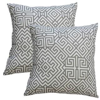 Premiere Home Santorini Summerland Grey 17-inch Throw Pillow - Set of 2