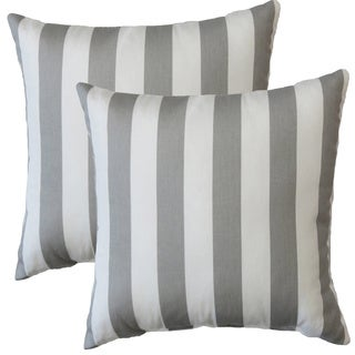 Premiere Home Gray Stripes 17-inch Throw Pillow - Set of 2