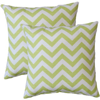 Premiere Home Chevron Canal Green 17-inch Throw Pillow - Set of 2