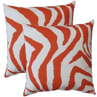 Premiere Home Indoor/Outdoor Zebra Orange 17-inch Throw Pillow - Set of 2