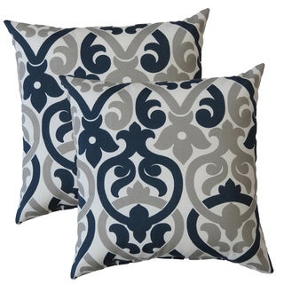 Premiere Home Indoor/Outdoor Alex Oxford Grey 17-inch Throw Pillow - Set of 2