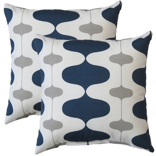 Premiere Home Indoor/Outdoor Ivon Oxford Grey 17-inch Throw Pillow - Set of 2