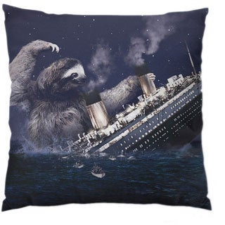 Sloth Titanic Square Polyester Throw Pillow