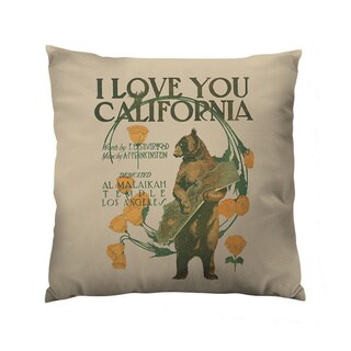 I Love You California Square Polyester Throw Pillow