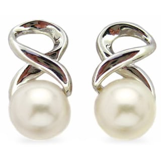 Kabella Sterling Silver Freshwater Pearl Infinity Earrings (6-6.5 mm)