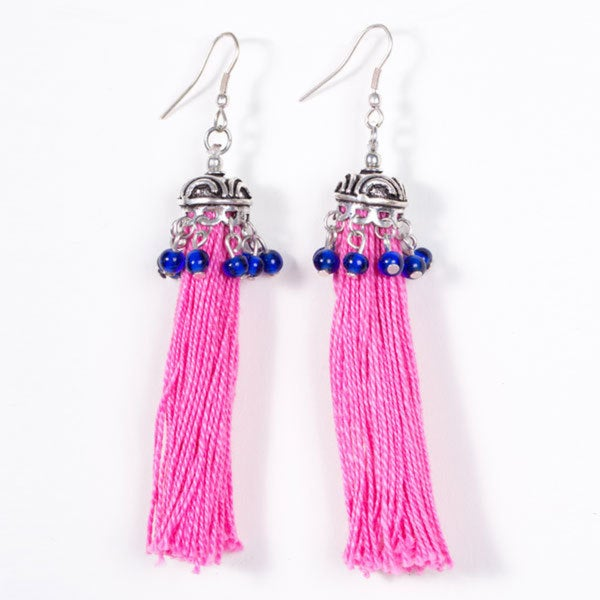 Pink Tassel Earrings (India)