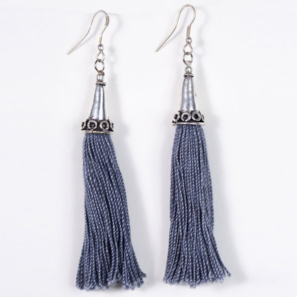Grey Tassel Earrings (India)
