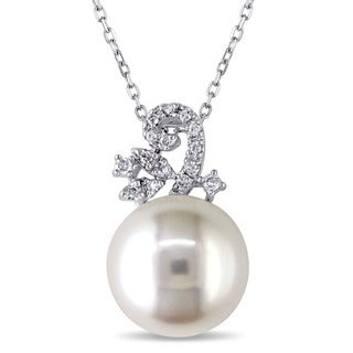 Miadora 14k White Gold Cultured Freshwater White Pearl and 1/10ct TDW Diamond Necklace (H-I, I1-I2) (11.5-11.75 mm)