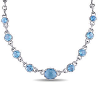 Miadora Sterling Silver Blue Topaz and White Sapphire Necklace