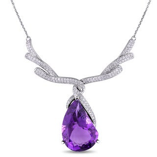 Miadora 14k White Gold Amethyst and 1 1/3ct TDW Diamond Necklace (G-H, SI1-SI2)