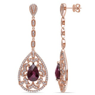 Miadora 14k Rose Gold Rhodolite, White Sapphire and 1/6ct TDW Diamond Teardrop Dangle Earrings (G-H, SI1-SI2)