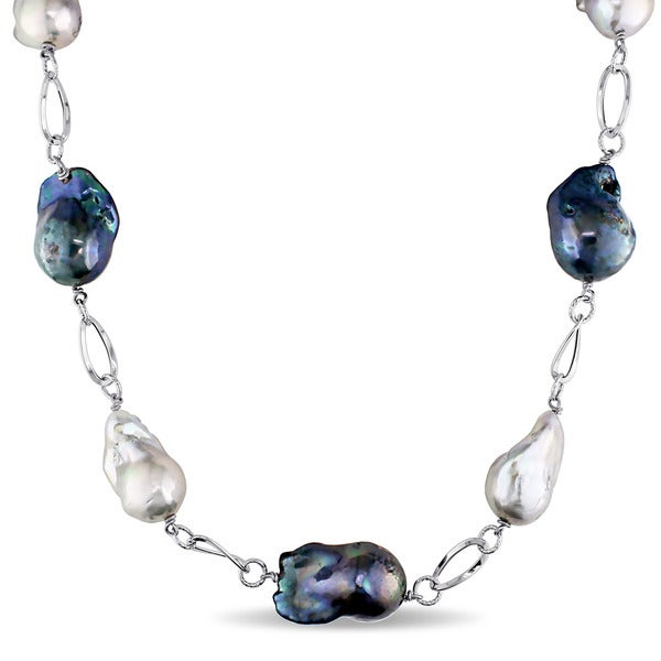 Miadora 14k White Gold Cultured Freshwater Multi-color Pearl Oval Link Chain Necklace (16-18mm)