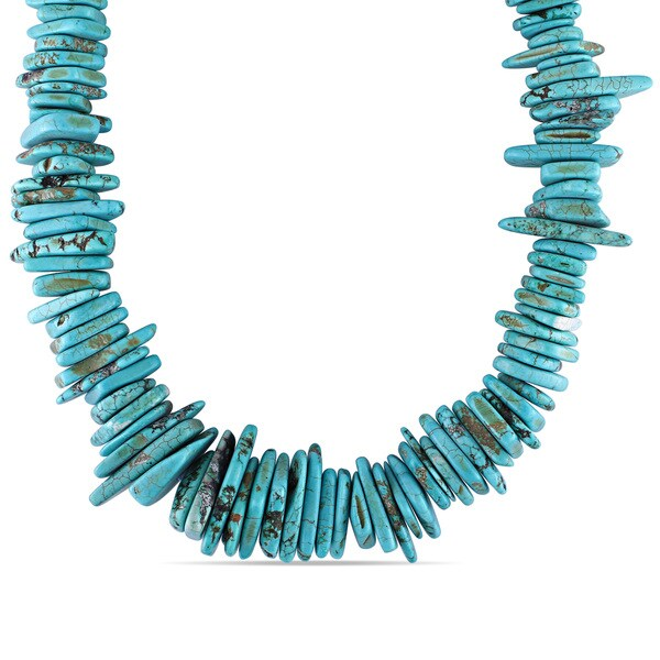 Miadora Silvertone Base Metal Turquoise Necklace