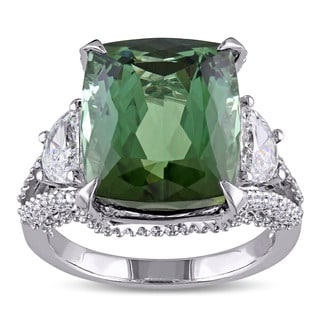 Miadora 14k White Gold Cushion-cut Green Tourmaline and 1 2/5ct TDW Diamond Cocktail Ring (G-H, SI1-SI2)