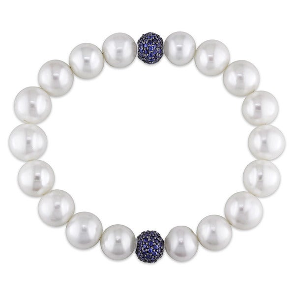 Miadora 14k White Gold Cultured Freshwater White Pearl and Sapphire Roundel Bracelet (11-12 mm)