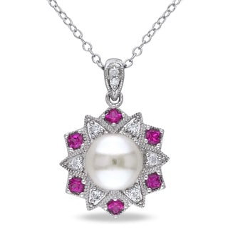 Miadora Sterling Silver Cultured Freshwater Pearl, Created Ruby, Created Sapphire and Diamond Accent Necklace (8-8.5 mm)