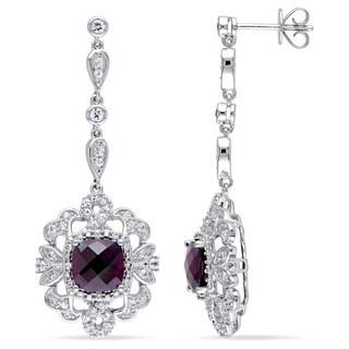 Miadora 14k White Gold Rhodolite, Sapphire and 1/8ct TDW Diamond Dangle Earrings (G-H, SI1-SI2)